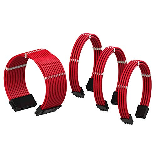 LINKUP - PSU Cable Extension Sleeved Custom Mod GPU PC Braided w/Comb Kit┃1 x 24 P (20+4)┃1 x 8 P (4+4) CPU┃2 x 8 P (6+2) GPU Set┃30CM 300MM - Red