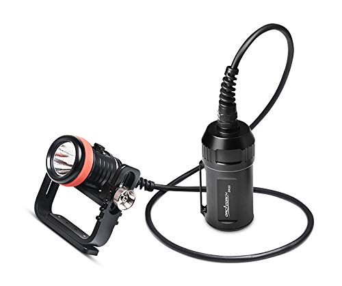 ORCATORCH D620 Scuba Dive Canister Light, 2700 Lumens LED Rechargeable Battery, High Strength Underwater Flashlight Deep Water Exploration