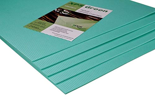 HEXIM Trittschalldämmung - exzellente Schall- und Wärmedämmung für Parkett- und Laminatböden - XPS Green, 100x50cm pro Platte (5mm, 20 Quadratmeter)