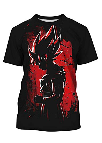 TAKUSHI HF Teen Boys Girls Superhero T-Shirt 3D Printed Anime Short Sleeve Casual Graphic Tops 7-14Y(Red Goku,L)