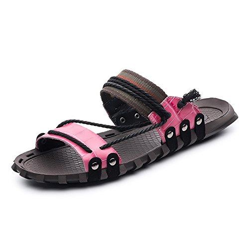 Best-choise Pantuflas de Playa de Cuero Genuino de los Hombres Zapatillas de cáñamo Antideslizante Sandalias de cáñamo Durevole (Color : Rosado, tamaño : 8MUS)