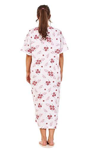 Apparel Women Long Nightdress 100% Cotton Floral Button Short Sleeve Nightwear M to 3XL Maroon