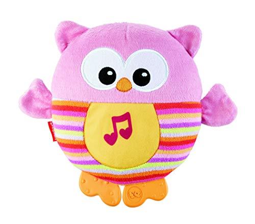 Fisher-Price CDN88 Leuchtende Kuschel Eule Plüschtier mit Eulengeräuschen mit Beißhilfe Babyerstausstattung, ab 0 Monaten, rosa