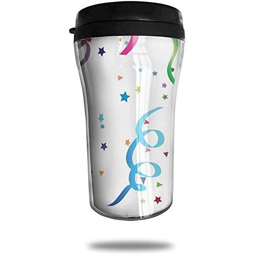 Mauve Clipart Konfetti Muster Reisen Kaffeetasse 3D gedruckt tragbare Saugnapf, isolierte Teetasse Wasserflasche Becher zum Trinken mit Deckel 8,54 oz (250 ml)