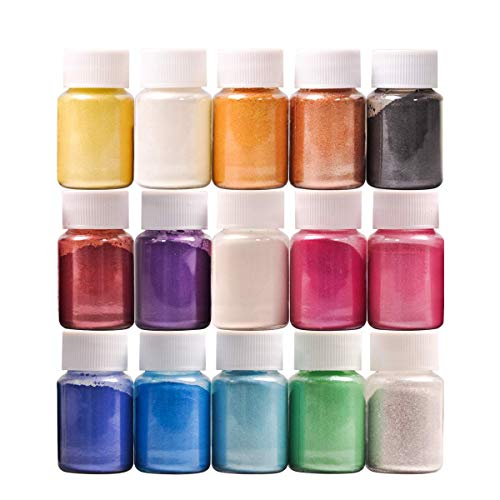 Dewel 15 Botes 10g pigmentosenpolvo de Mica para teñir resina epoxi transparente,colorante jabon, bombas de baño, hacer slime, Maquillaje,uñas.