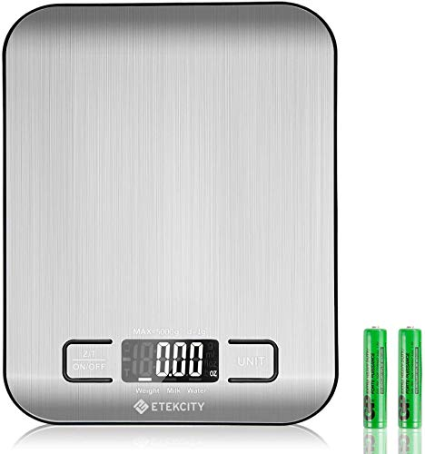 Etekcity Digital Kitchen Scale Multifunction Food Scale, Large LCD Screen & Tare Button,11lb/5kg, Silver, Stainless Steel (Batteries Included)