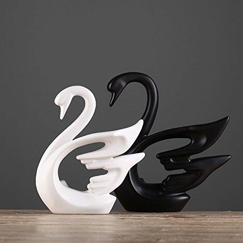 Toaryong Un Couple De Black Et White Swan Ornements Décoratifs Salon De L'Artisanat En Céramique,Une Paire De Cygnes Blancs Et Noirs