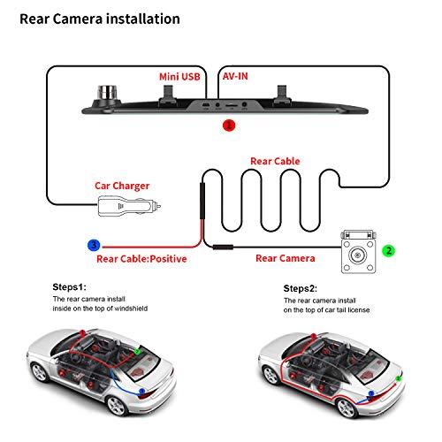 Specchietto retrovisore a 7 pollici per fotocamera Dash Cam 1080P Obiettivo doppio anteriore e posteriore con telecamera retrovisiva impermeabile (scheda SD da 16 GB)
