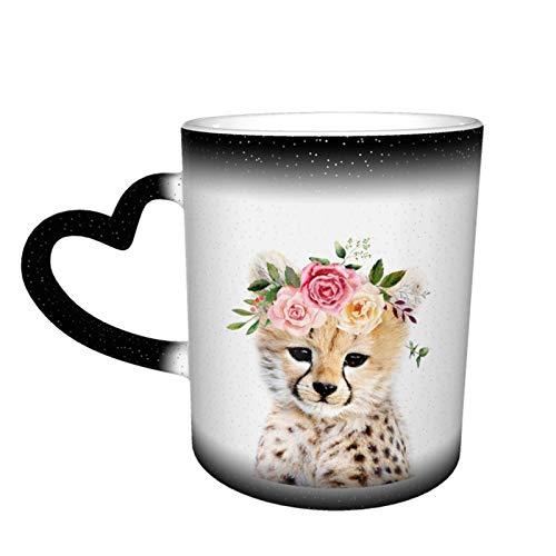 Taza de café con diseño de guepardo con corona de flor, sensible al calor, cambia de color en el cielo, taza de cerámica, regalos personalizados para familiares y amigos