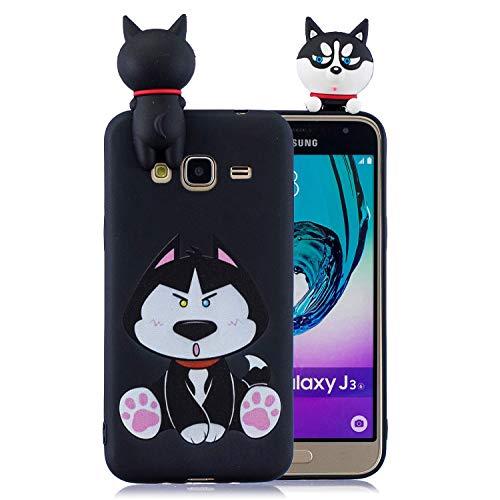 Cover per Samsung Galaxy J3 (2016) / J310 Cover, [Modello Simpatico Cartone Animato Elegante] [Protezione per la Fotocamera] Custodia Protettiva in Silicone Morbido Antiurto in Gomma TPU (Cucciolo)