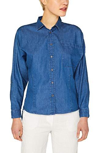 edc by ESPRIT Damen 049CC1F008 Bluse, 420/GREY Blue, Small (Herstellergröße: S)