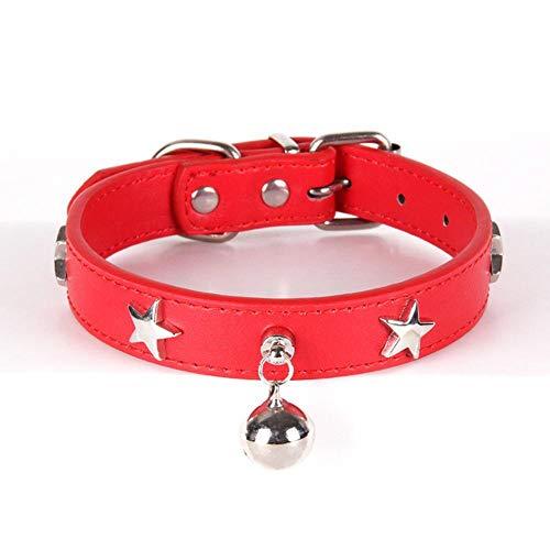 Qingsb Hondenhalsband Pentagram Bell Hondenaccessoires Leer voor kleine middelgrote grote honden Chihuahua-riem, rood, M