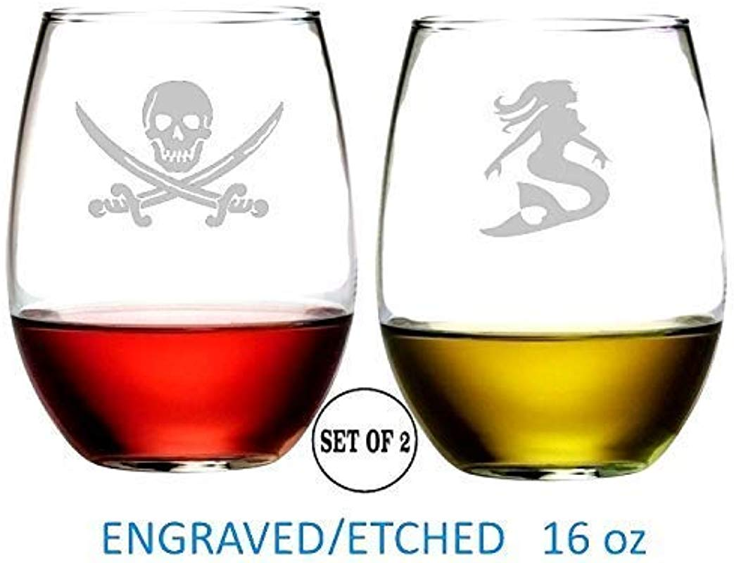 Pirate And Mermaid Stemless Wine Glasses Etched Engraved Perfect Fun Handmade Gifts For Everyone Set Of 2
