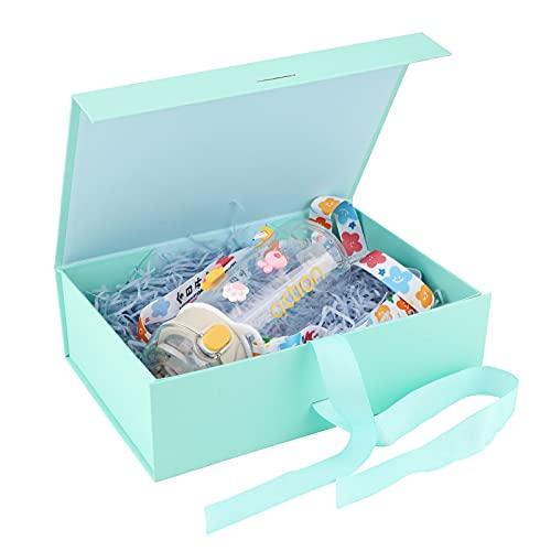 Geschenkbox mit Schleife,Magnetische Geschenkbox Groß Geschenkverpackung Box mit Band Wiederverwendbare dekorative Box Geschenkboxen Dekorative Box Rechteck Präsentationsbox Präsentieren (Mint Green)
