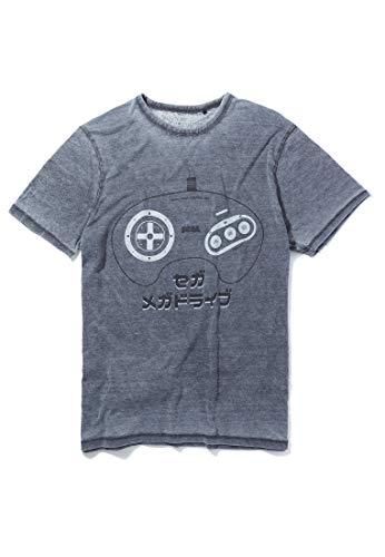 Sega Mega Drive Japanese Controller Charcoal T-Shirtby Re:Covered -XL