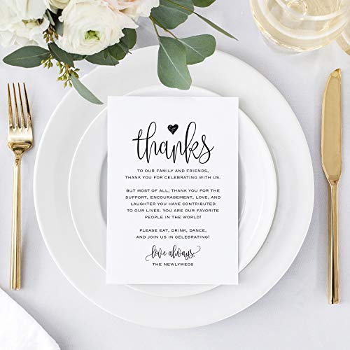 Bliss Collections Wedding Reception Thank You Cards, Pack of 50 Black Font Cards, Great Addition to Your Table Centerpiece, Place Setting, Wedding Decorations, Each Card is 4x6, Made in the USA