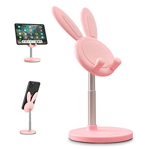 OATSBASF Soporte para teléfono móvil, multiángulo de altura ajustable, compatible con iPhone, Samsung, Huawei, iPad, tablet, color rosa