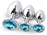 3 PCS Azul claro Diamante Acero inoxidable Metal B-ütt an-âl Pl-ùg