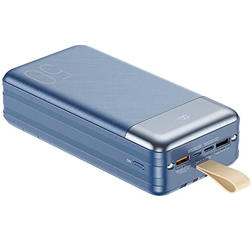 Cargador Portátil 50000mah, Power Bank 20W PD Cargador USB C con Cables Incorporados, Batería Externa compatible con iPhone Samsung y más Cargador de Teléfono para exteriores, senderismo, viajes