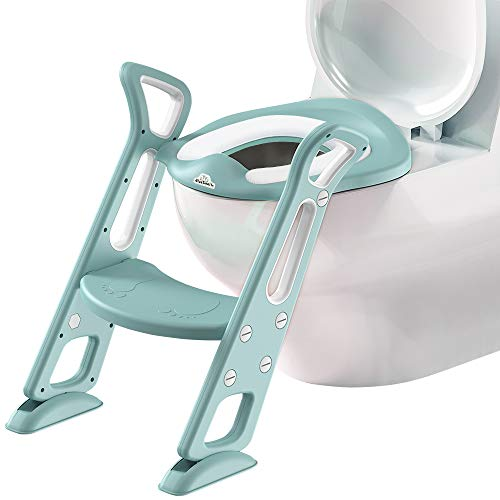 Bluesnail補助便座 おまる 子供 折りたたみ幼児用便座 トイレトレーニング トイレトレーナー ステップ式 ベビー 踏み台 (若草色)