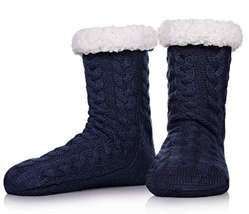 SDBING Mens Super Soft Warm Cozy Fuzzy Fleece-lined Winter With Grips Slipper Socks (Dark Blue)
