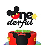 MALLMALL6 Mickey Inspired One Birthday Cake Topper, Onederful First Birthday Cake Topper Party Cake Decoration Supplies for Boys and Girls
