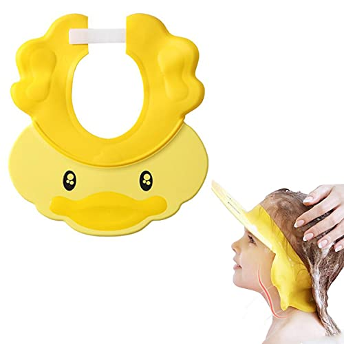 seaNpem Gorro de ducha para bebé, con visera ajustable, de silicona, multiusos, impermeable, para proteger los ojos y las orejas para bebés, niños pequeños y niños (amarillo)