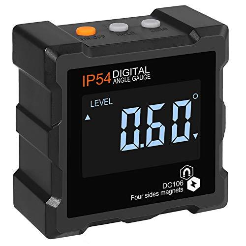 AUTOUTLET Inclinómetro Digital Buscador de Ángulos 4 * 90 ° Indicador de Bisel, Inclinómetro con Luz de Fondo Magnética, IP54 Impermeable Caja de Nivel Digital