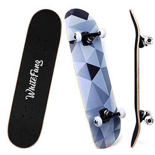 WhiteFang Skateboards for Beginners, Complete Skateboard 31 x 7.88, 7 Layer Canadian Maple Double Kick Concave Standard and Tricks Skateboards for Kids and Beginners (Diamond)