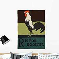 Wallmonkeys R Is for Rooster Wall Decal Peel and Stick Graphic WM260737 (36 in H x 26 in W) [並行輸入品]