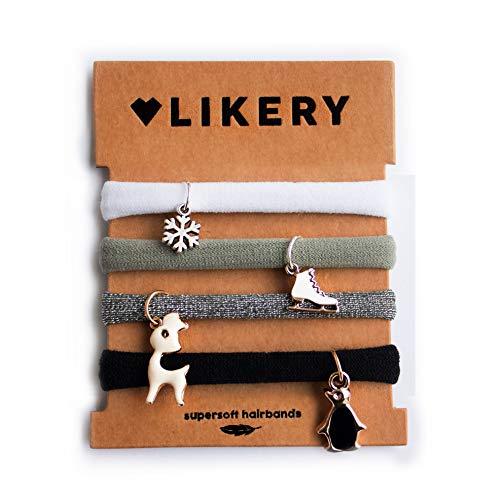 Superzachte haarelastiekjes | armbanden | geschenken voor vrouwen kinderen meisjes | haarelastiek hanger | armband van stof schattige hangers | kleur: grijs (winter)