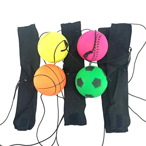 EMVANV Sports Wrist Balls, Wrist Training Bouncy Ball Rubber Elastic String Rebound Ball Finger Exercise Sport Toy Fitness Ball, Party Favor, Gift Idea for Kids