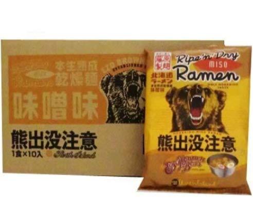ラーメン インスタントラーメン 熊出没注意 味噌ラーメン 乾麺 10食入 1ケース (1箱) みそラーメン ラーメンスープ 付き ラーメン
