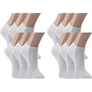 Vitasox Calcetines cortos de señora algodón, calcetines tobilleros unicolor, sin costura, lote de 6 o 12 unidades en 5 colores