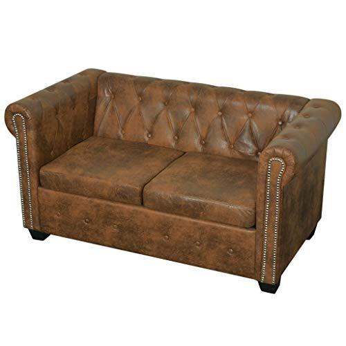 Tidyard Chesterfield Sofa 2-Sitzer Lounge Ledersofa Couch Sofagarnitur Vintage Couch Bürosofa Polstermöbel Stilsofa Couchgarnitur Polstersofa Kunstleder Braun