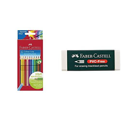 Faber-Castell 112412 - Buntstifte Colour Grip, 12er Kartonetui & 188121 - Radierer 7081 N PVC-Free, Kunststoff, weiß