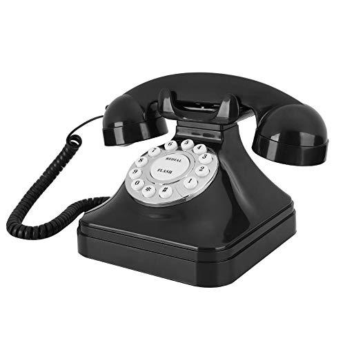 T osuny Teléfonos fijos Retro Antiguos, teléfono Vintage multifunción, con Base Antideslizante, Compatible con función de Almacenamiento de rellamada de ruptura de Flash, para Oficina en casa(Negro)