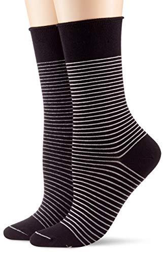 ESPRIT Damen Socken Fine Stripe 2er Pack - Baumwollmischung, 2 Paar, Schwarz (Black 3000), Größe: 39-42