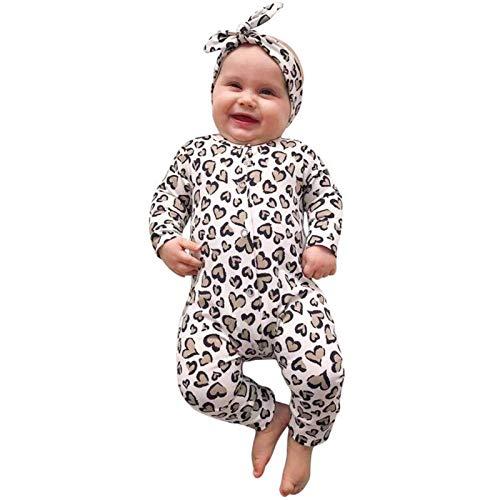 Mono de primavera para bebé, manga larga, para niñas, con estampado de leopardo, costuras redondas, mezcla de algodón para niños, fácil de llevar, arco + mono multicolor 3-6 Meses