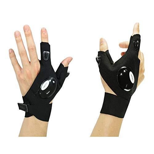 CZZ11 CZZ11Anti-Slip-Halbfingerhandschuhe LED-Taschenlampe leuchtender Mehrzweck-Handschuh zum Reparieren und Arbeiten in Dunkelheit, Outdoor-Sport, Angeln, Camping, Wandern, Laufen