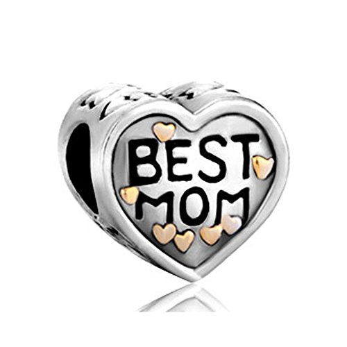 Uniqueen Best Mom Heart Charms On Bead fit Bracelet Mother's Gift (Gold...