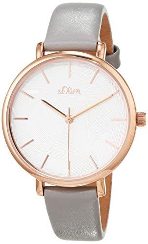 s.Oliver Damen Analog Quarz Uhr mit Leder Armband SO-3735-LQ
