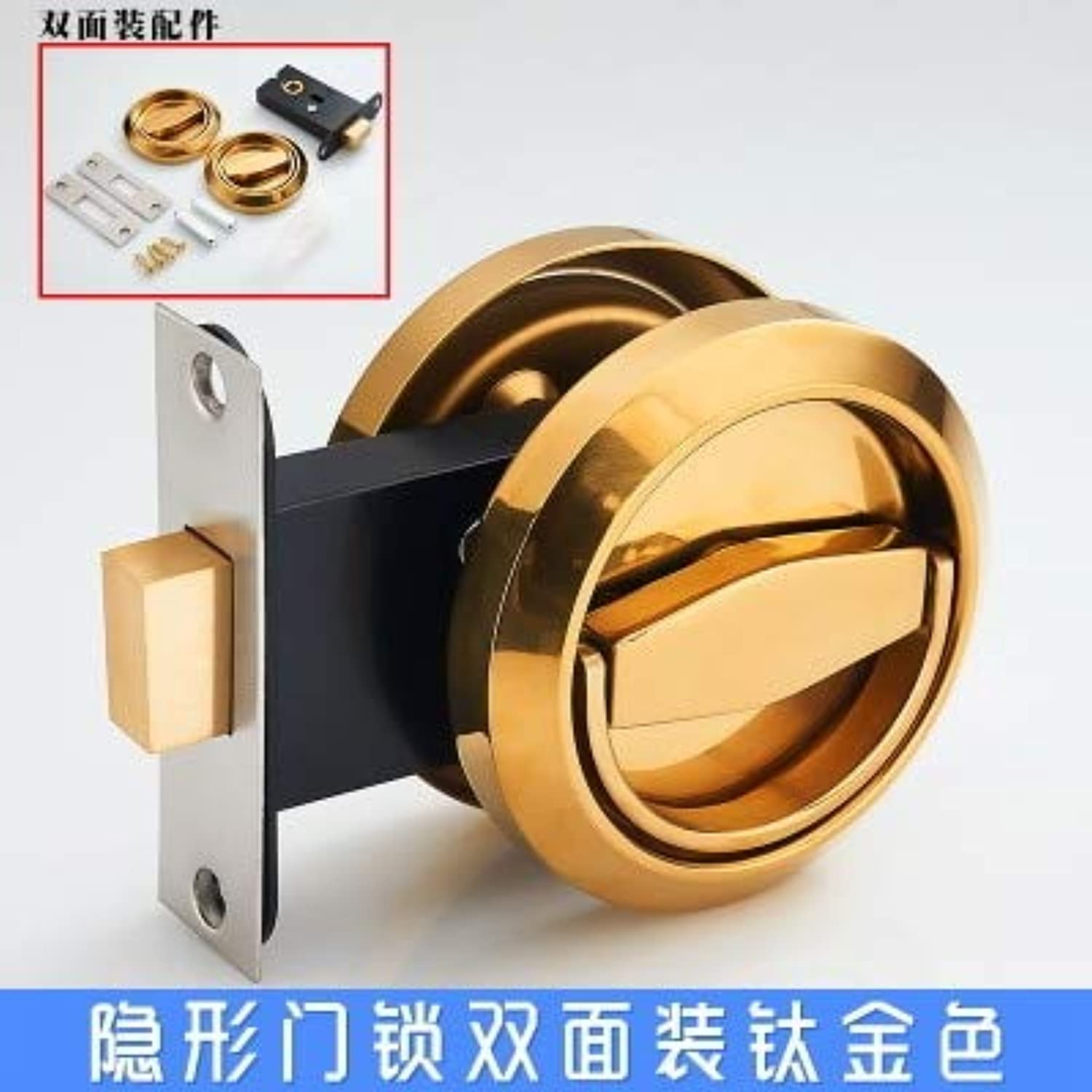 New Style Door Locks Invisible Locks, 3 colors,Backdrop Invisible handleNo Key,Door Latch for washroom Bedroom  (color  gold)