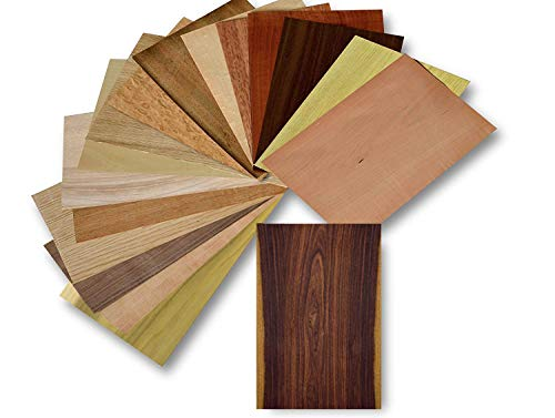 Holz Furnier Set, 17 Varianten, Echtholz, Nussbaum, Eiche, Teak. uvm. Bastelset, Modellbau, Intarsien (Set II)