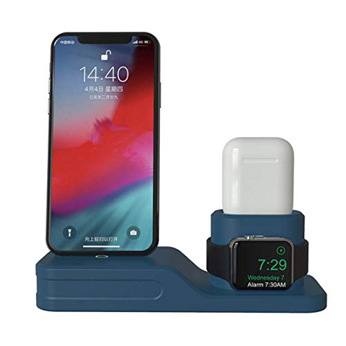 Gymqian Charging Dock Charger 4 in 1 Fit iPhone X Xr Xs Max 8 7 6 Charging Dock Silicone Docking Station for Airpods 2 3 4,Beige Fast Charging/Blue
