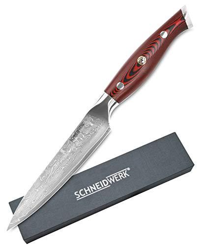 SCHNEIDWERK Schneider Werkk - Cuchillo Multiusos (Acero de Damasco, Mango G10, Longitud de la Hoja de 13 cm, 67 Capas de Acero Inoxidable Damasco, Muy Afilado)