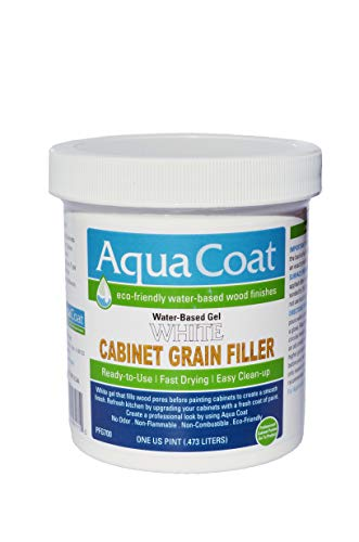 Aqua Coat, Best White Cabinet Wood Grain Filler, White Gel, Water Based, Low Odor, Fast Drying, Non Toxic, Environmentally Safe (Pint)