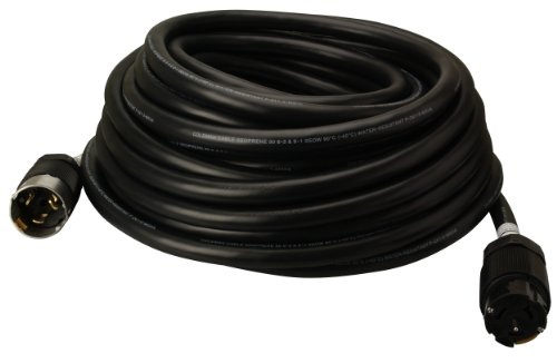 Coleman Cable 01918 50-Amp Twist-Lock Generator Power Extension Cord, 6/3 & 8/1 SEOW Black, 50-Feet -
