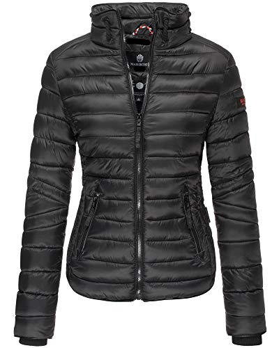 Marikoo Damen Jacke Frühling Steppjacke Übergangsjacke Steh Kragen Lola XS- XXL 11 Farben (XL, Schwarz)