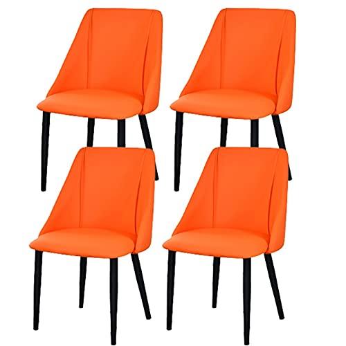 ADGEAAB Juego de 4 sillas de comedor de piel mate tapizadas sillas modernas para salón, cocina, comedor, dormitorio (color: naranja, tamaño: pies negro)